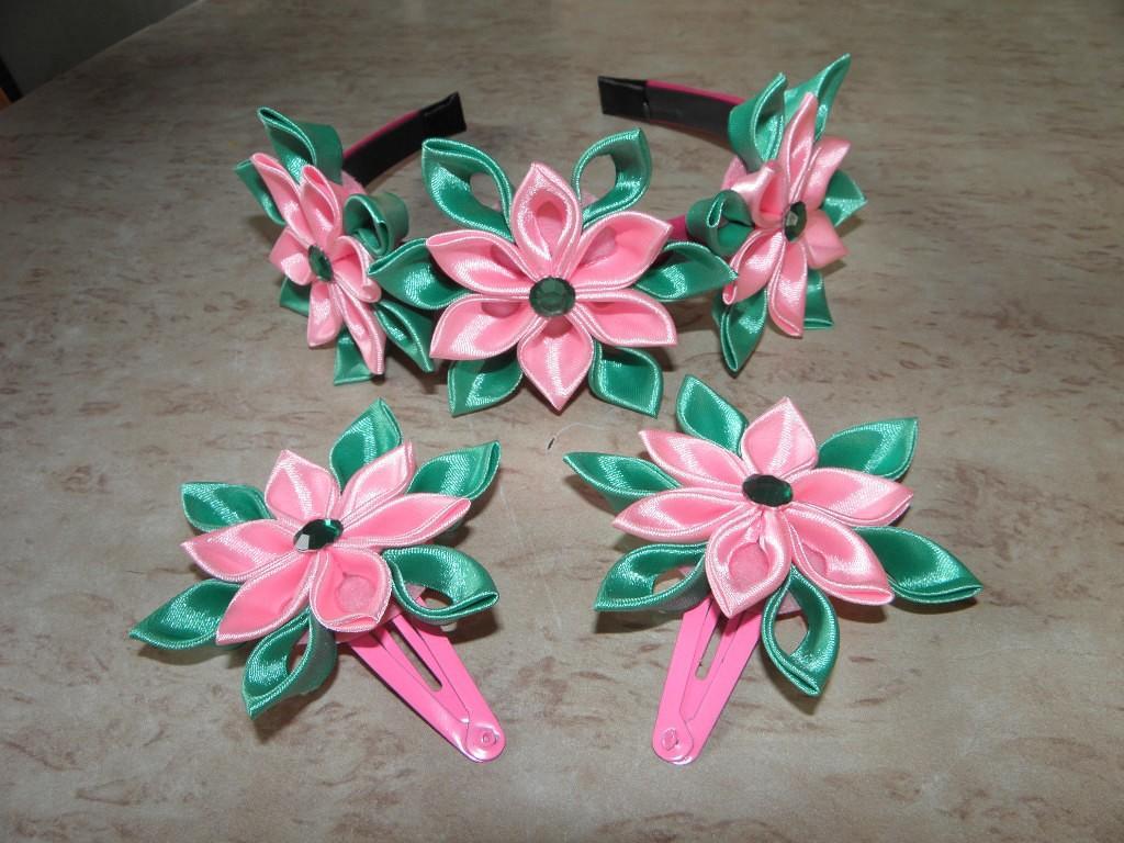 Канзаши, цветы из лент. Украшения для волос.