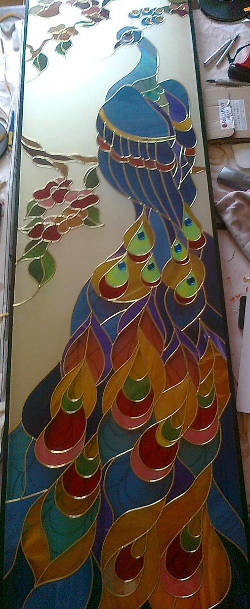 витраж в окно на стеклопакете, частный дом в г.Улан-Удэ